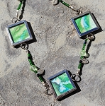 3x Green Portal Art with Gemstones Necklace and earrings