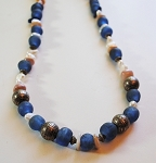 Blue and Pearl mixed gemstone necklace #181011