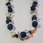 Blue and Light mixed gemstone necklace #11007