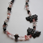 BLACK AND PINK JASPER BUTTERFLY NECKLACE