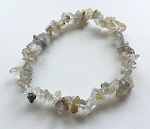 Rutilated Quartz Crystal Chip Bracelet #072316
