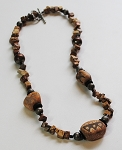 Tibetan Agate Bead Gemstone Necklace  #151811