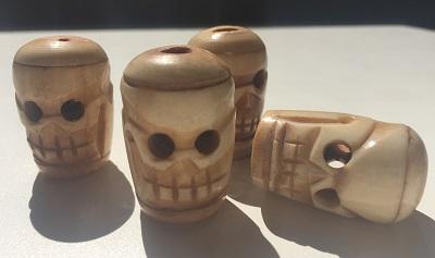 Vintage Bone Skull Bead Totem Carvings
