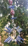 Blue Kyanite, Quartz Crystal, and Tibetan Bead Dream Catcher ChandaLehr #110317