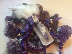 Selenite and Amethyst Crystal Wand #072520