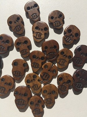 Brown wooden Skull Beads #101918